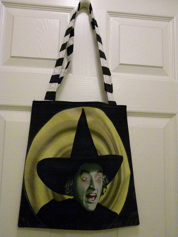 Upcycled Recycyled Purse Tote Halloween Treat Bag Wizard of Oz Wicked Witch