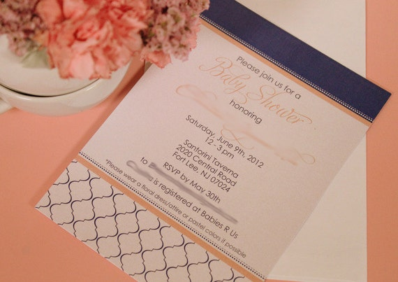 MODERN QUATREFOIL Printable Party Invitation - Pink and Navy Printing Available