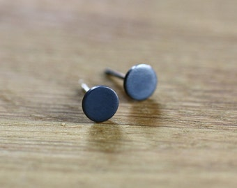 Black dots, tiny post earrings in oxidized silver, studs