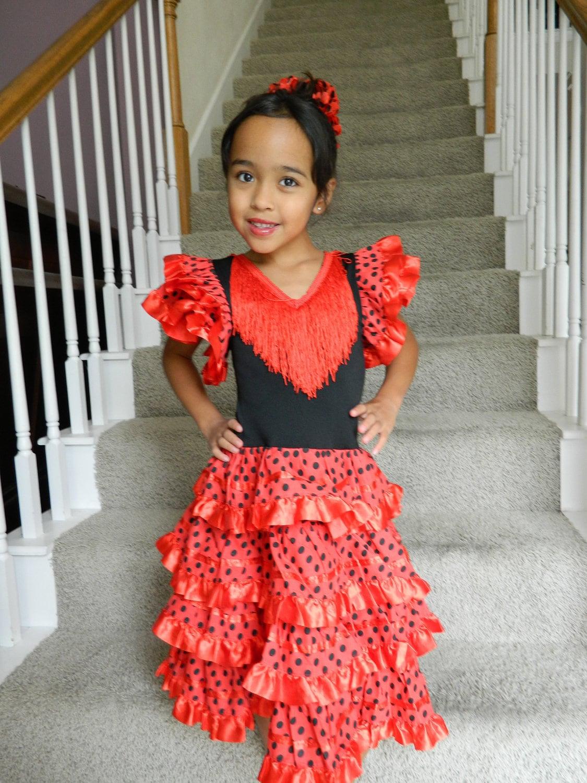 Spanish Flamenco Dancer Costume For Girls Sizes 2t 5