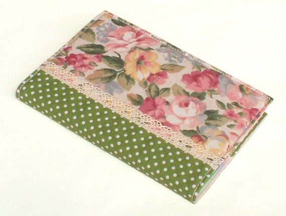 Fabric Journal - English Roses - Handmade A6 Notebook, Diary Cover - Pink, Yellow and Beige Flowers, Green Leaves and Polka Dots with Lace