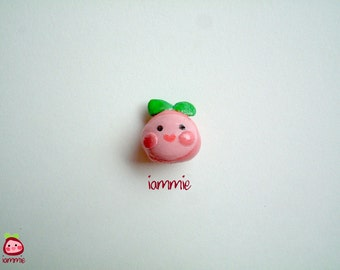 Miniature Clay iammie, apple, strawberry, clay figurine, polymer clay, clay figure, cartoon, logo, mini, poly clay, little, pink, fruits
