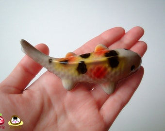 Ceramic Carp Figure, koi, pink, red, yellow, white, ceramic animal, ceramic fish, tiny animal, small, decoration, miniature animal