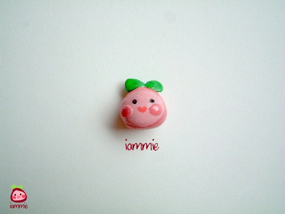 Miniature Clay iammie, apple, strawberry, clay figurine, polymer clay, clay figure, cartoon, logo, mini, poly clay, little, pink, fruits