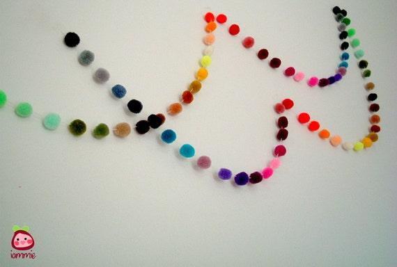 Pom Pom Garland, yarn pom pom garland, xmas, christmas, wholesale, party, colorful, rainbow, mobile, carnival, 18 feet, 6 yards, 10 strands