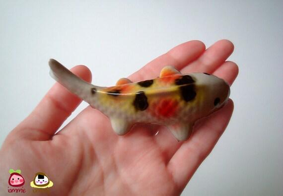 Ceramic Carp Figure, koi, pink, red, yellow, white, ceramic animal, ceramic fish, tiny animal, small, decoration, miniature animal