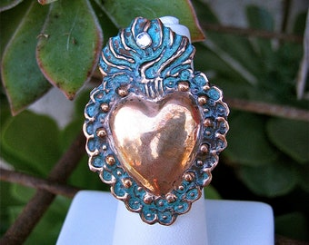 Med. Copper Patina SACRED HEART Intricate Milagro Ring- Perfect gift for the one you love this holiday-1.5""