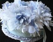 Blue Vintage Flower Hat Fluffy Floral Brim Millinery Harajuku