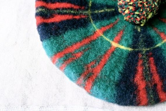 Vintage Beret Tam O'Shanter Scotland Wool Winter Hat