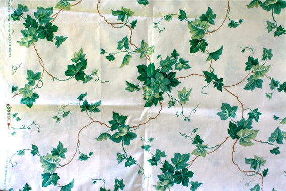 """Vintage """"English Ivy"""" Waverly Schumacher Screen Print Cotton Green Leaves Vines Yard and a Half"""