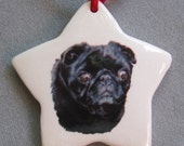 Black Pug dog, star ceramic ornament, free personalizing 22k gold by Nicole