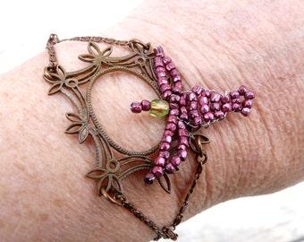 ROSE BIRD Handmade French bracelet beaded Bird on frame