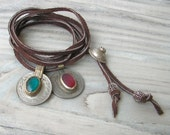 Leather Charm Necklace or Wrap Bracelet  -  Red and Turquoise - Long and Adjustable