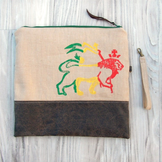 Fold Over Clutch, Rasta Purse, Hand Printed Linen Bag, Wrist Strap, Red Gold Green, Lion of Judah