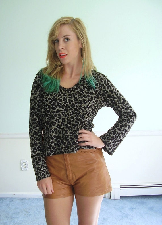 Sheer Spot Vintage 90s Cheetah Animal Patterned Mesh Spot Skinny Fit Stretch Top S/M