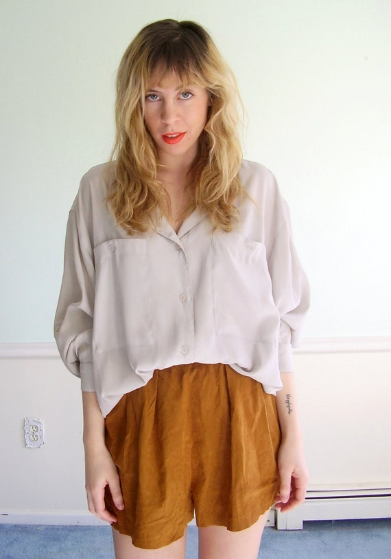 Silky Grey Vintage 80s Oversized Utility Blouse Shirt LARGE L Button Down