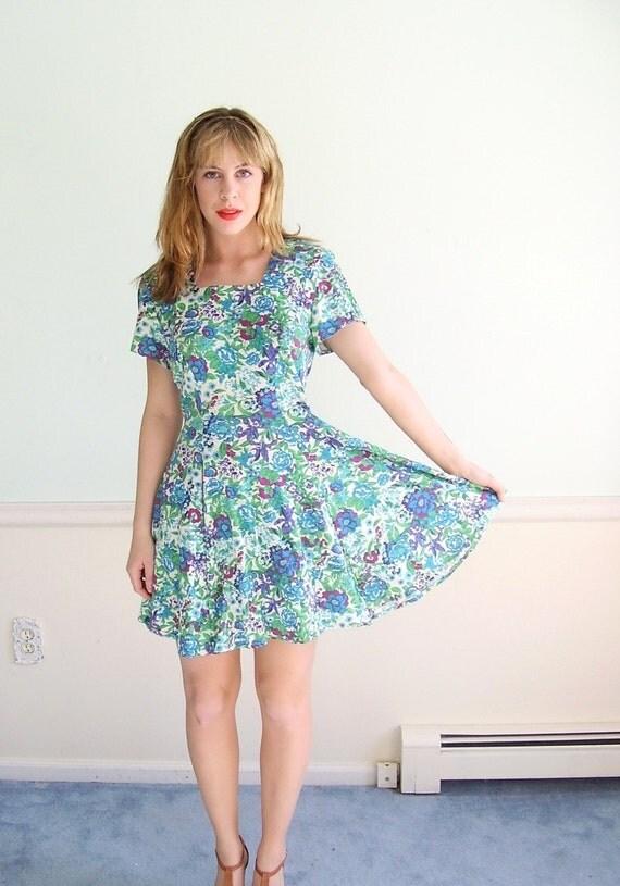 Garden Jewel Vintage 90s Short Sleeve JEWEL Tone Floral Print Mini Dress SMALL
