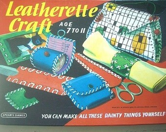 Vintage Children's Craft Kit Leatherette Craft -Spear's Games - Faux LLeather Crafting Kit for Children 7 - 11 from the U.K.  - 1960s