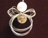 SALE - Silver Wispy Angel Ornament with Thank You Charm