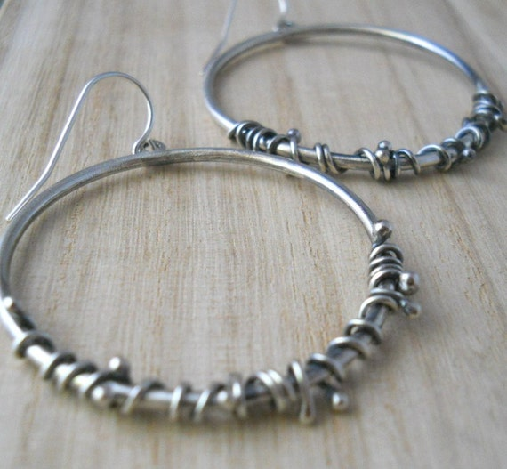 twisted wire hoop earrings, sterling silver .925,hand forged