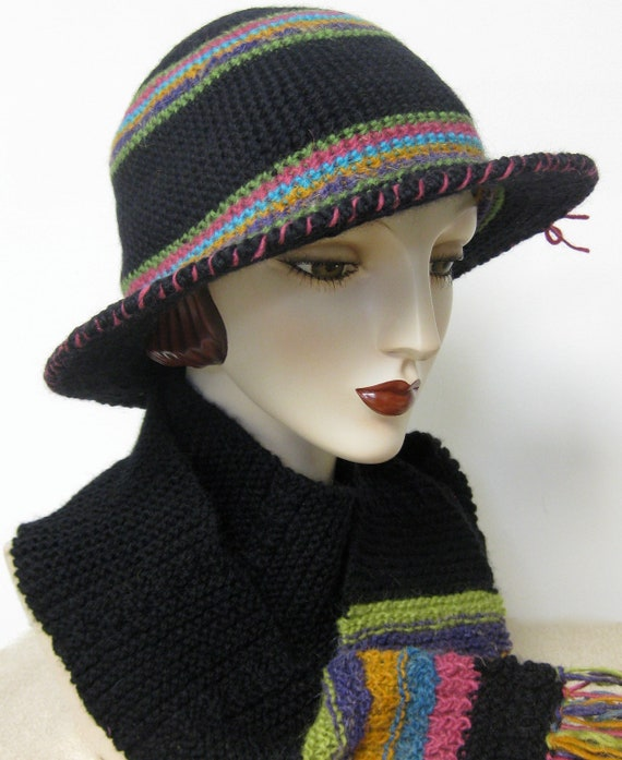 Bolivian Inspired Wool Crocheted Hat/ Wired Brim