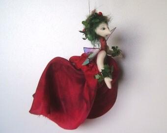ooak fantasy cloth art doll Hollisha the Holly faerie