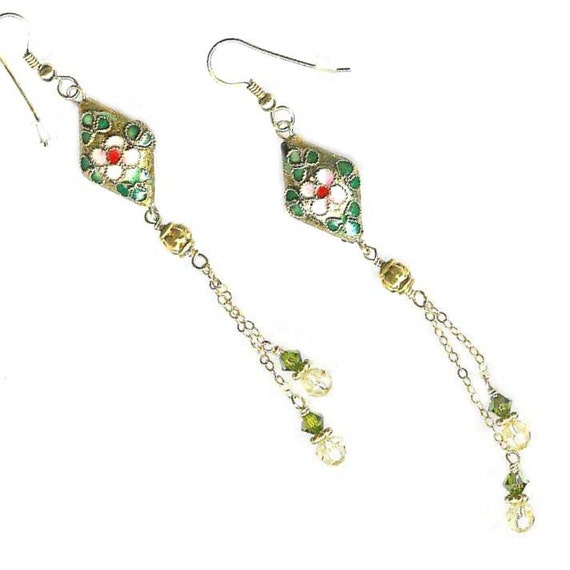 cloisonne yellow green crystal goldfilled chain long dangle earrings