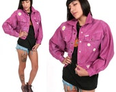 80's Pink Guess Denim Jacket With Daisy Patches M Guess Marciano Dyed Pink Denim Bomber Jacket