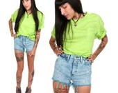 90's Neon Green Pocket Tee S/M Oversized Fluorescent Lime Green T-Shirt