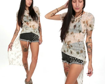 90's Rose GRUNGE Hi Low Top XS/S Sheer Gauze Floral Fishtail Blouse WItchy