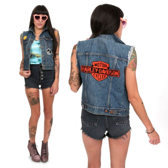 80's Wrangler Patchwork Denim Vest XS/S Distressed Harley Davidson Hippie Patch Denim Vest