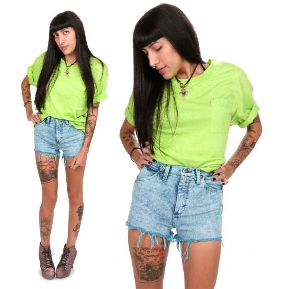 90's Neon Green Pocket Tee S/M Oversized Fluorescent Lime Green T-Shirt