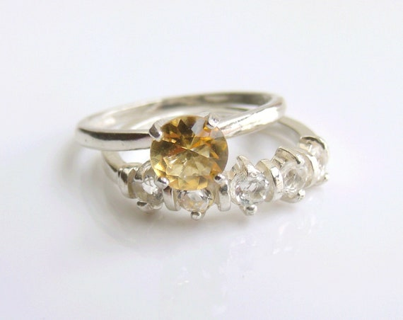 Wedding Ring Set Citrine Sterling Silver Made To By KatDesignsNYC