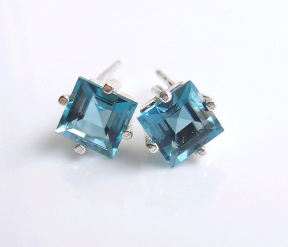London Blue Topaz Stud Earrings Sterling Silver December Birthstone 6mm