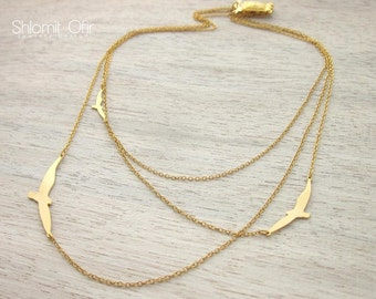Three Layered Flying Birds Necklace, signature necklace, woodland jewelry