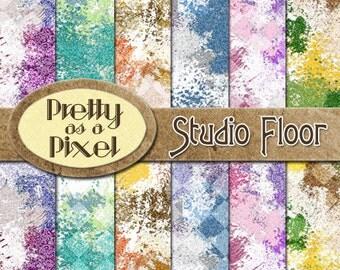 Studio Floor - Digital Paper Pack - Scrapbooking Backgrounds - 12 x 12 - Set of 12 - INSTANT DOWNLOAD