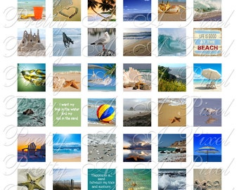 Digital Collage Sheet - Sand & Sea - 3 sizes - Inchies, 7-8 inch, AND scrabble size .75 x .83 inch - For Pendants Magnets - INSTANT DOWNLOAD