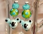 Darling Koala Bear Lamp Work Bead Earings
