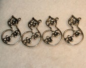 Set of 4 Silver Flower Pendants/ Charms, New