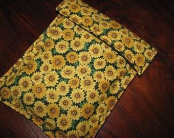 Diaper clutch, diaper and wipes case, sunflower field, neutral design