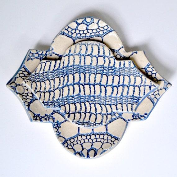 Geometric series Nesting Bowl set geometric pattern ceramic plate  blue and white lace  texture modern ceramics