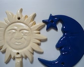 Blue moon, yellow sunshine, 2 cast iron hangers, hooks for jewelry, keys, leashes, towels, scarves, nursery, child's room