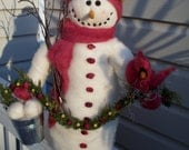 """Cecelia the Snowlady Wool Felted and Wool Wrapped 20"""" Figurine"""