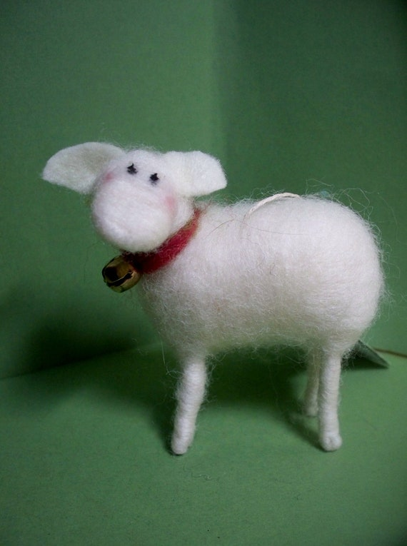 White Sheep Felted Wool Ornament