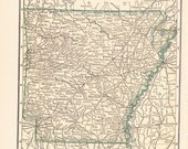 1909 State Map Arkansas - Vintage Antique Map Great for Framing 100 Years Old