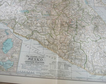 1911 Map Central Mexico - Vintage Antique Map Great for Framing 100 Years Old