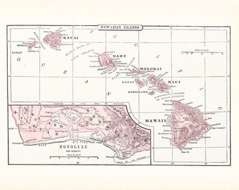 1903 Map Hawaii - Vintage Antique Map Great for Framing 100 Years Old