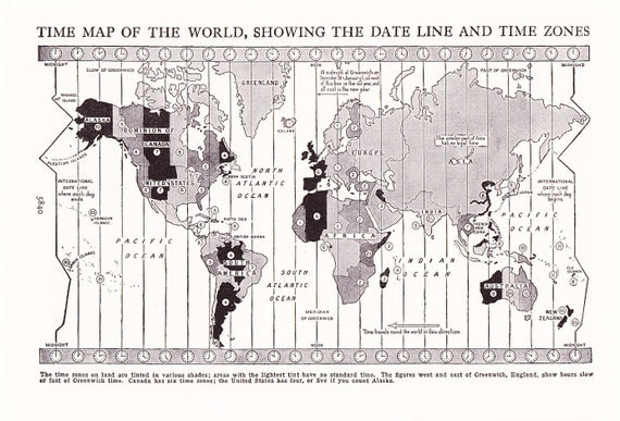 1947 Map World Time Zones - Vintage Antique Map Great for Framing