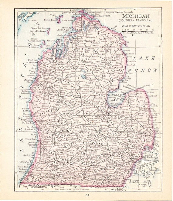 1900 State Map Southern Michigan Vintage Antique Map Great