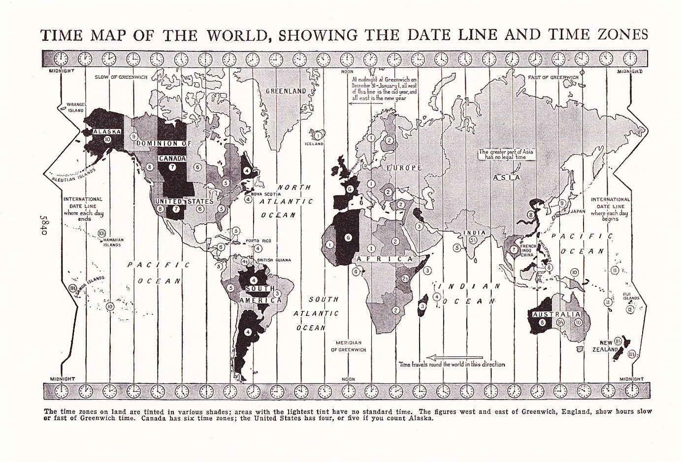 Map World Time Zones Vintage Antique Map Great For - Us time zone map black and white